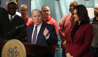 Detroit Mayor Mike Duggan announces plans for Fiat Chrysler to build a new assembly plant include $12 million in tax abatements over a dozen years and 200 acres of land during a news conference in Detroit, Tuesday, Feb. 26, 2019. Duggan's office said that the city will work with the state on other incentives for the automaker's $1.6 billion investment to convert its Mack Avenue Engine Complex into a new facility. The city has 60 days to get the land, 170 acres of which is owned by the city, a power utility, a public water authority and a family of prominent wealthy businessmen. (AP Photo/Carlos Osorio)