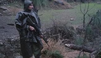 "A Pakistani soldier stands guard in the area where Indian jets strike in Jaba near Balakot, in Pakistan, Tuesday, Feb. 26, 2019. Pakistan said India launched an airstrike on its territory early Tuesday that caused no casualties, while India said it targeted a terrorist training camp in a pre-emptive strike that killed a ""very large number"" of militants. (AP Photo/Riaz Khan)"
