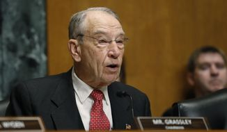 Sen. Chuck Grassley, R-Iowa, chairman of the Senate Finance Committee, attends a hearing on drug prices, Tuesday, Feb. 26, 2019 on Capitol Hill in Washington. (AP Photo/Jacquelyn Martin)