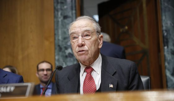 Sen. Chuck Grassley, R-Iowa chairman of the Senate Finance Committee, talks during a hearing with drug company CEOs on drug prices, Tuesday, Feb. 26, 2019 on Capitol Hill in Washington. (AP Photo/Pablo Martinez Monsivais) ** FILE **