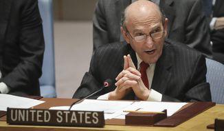 U.S. Special Representative for Venezuela Elliott Abrams address a meeting on Venezuela in the U.N. Security Council at U.N. headquarters, Tuesday Feb. 26, 2019. (AP Photo/Bebeto Matthews)
