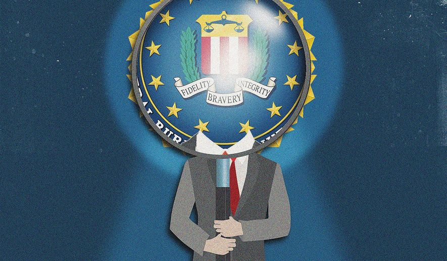Illustration on FBI accountability by Linas Garsys/The Washington Times