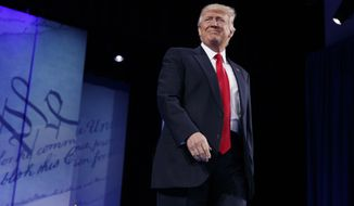 President Donald Trump arrives to speak at the Conservative Political Action Conference (CPAC), Friday, Feb. 24, 2017, in Oxon Hill, Md. (AP Photo/Evan Vucci)
