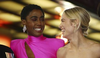 Actress Brie Larson, right and Lashana Lynch laugh upon arrival at the European Gala of Captain Marvel at a central London cinema, Wednesday, Feb. 27, 2019. (Photo by Joel C Ryan/Invision/AP)