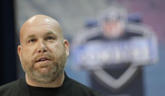 Arizona Cardinals general manager Steve Keim speaks during a press conference at the NFL football scouting combine, Wednesday, Feb. 27, 2019, in Indianapolis. (AP Photo/Darron Cummings)