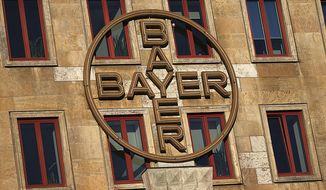 The logo of the Bayer company displayed at a company's building in Leverkusen, Germany, Wednesday, Feb. 27, 2019. ( Oliver Berg/dpa via AP)