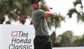 Brooks Koepka tees off on the fourth hole during the Pro-Am of the Honda Classic golf tournament, Wednesday, Feb. 27, 2019, in Palm Beach Gardens, Fla. (AP Photo/Wilfredo Lee)