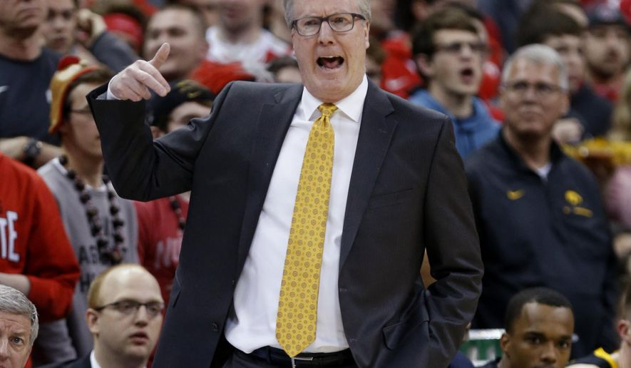 Iowa coach Fran McCaffery reacts to a call during the first half of the team's NCAA college basketball game against Ohio State in Columbus, Ohio, Tuesday, Feb. 26, 2019. Ohio State won 90-70. (AP Photo/Paul Vernon)