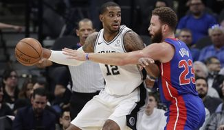San Antonio Spurs center LaMarcus Aldridge (12) is pressured by Detroit Pistons forward Blake Griffin (23) during the first half of an NBA basketball game in San Antonio, Wednesday, Feb. 27, 2019. (AP Photo/Eric Gay)