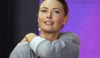 """FILE - In this Jan. 30, 2019, file photo, Maria Sharapova speaks about withdrawing from the St. Petersburg Ladies Trophy 2019 tennis tournament due to a right shoulder injury, in St. Petersburg, Russia.. Sharapova says she has undergone a """"small procedure"""" on her right shoulder that will need a few weeks to heal, requiring her to pull out of next month's Miami Open. (AP Photo/Dmitri Lovetsky, File)"""