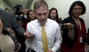 House Oversight and Reform Committee ranking member Rep. Jim Jordan, R-Ohio, speaks to the media after the hearing of President Donald Trump's former lawyer Michael Cohen, before the House Oversight and Reform Committee, on Capitol Hill, Wednesday, Feb. 27, 2019, in Washington. (AP Photo/Jose Luis Magana)