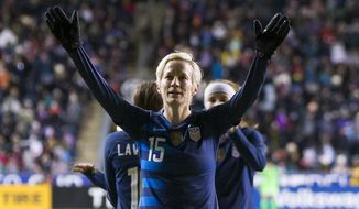 United States' Megan Rapinoe reacts to the crowd after scoring a goal during the first half of SheBelieves Cup soccer match against the Japan, Wednesday, Feb. 27, 2019, in Chester, Pa. (AP Photo/Chris Szagola)