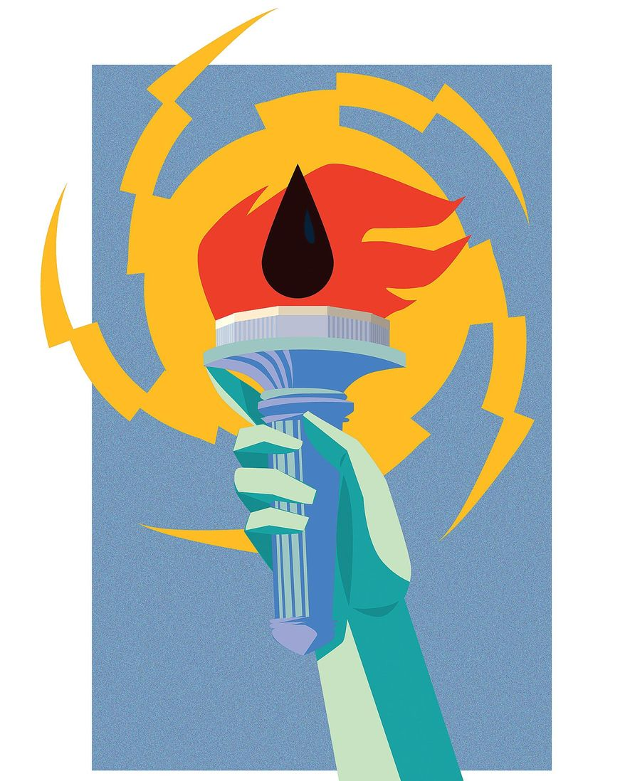Illustration on energy security by Linas Garsys/The Washington Times