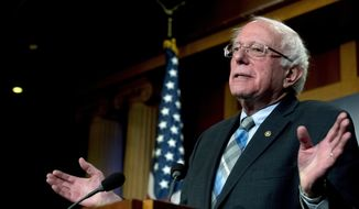 In this Jan. 30, 2019, file photo, Sen. Bernie Sanders, I-Vt., speaks at a news conference on Capitol Hill in Washington. (AP Photo/Andrew Harnik, File)