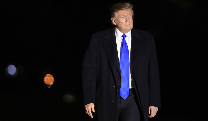 President Donald Trump arrives at the White House in Washington, Thursday, Feb. 28, 2019, from summit talks with North Korean leader Kim Jong Un in Hanoi. (AP Photo/Manuel Balce Ceneta)