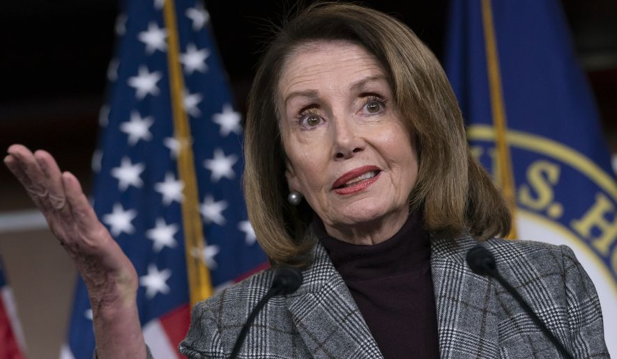 "Speaker of the House Nancy Pelosi, D-Calif., tells reporters at her weekly news conference she's glad Trump didn't go along with North Korea's nuclear demands, but she feels Kim Jong-Un was the ""big winner"" on the world stage for having another summit with the U.S. president, on Capitol Hill in Washington, Thursday, Feb. 28, 2019. Pelosi said (AP Photo/J. Scott Applewhite)"