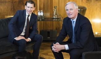 CORRECTS LEFT AND RIGHT -- Austrian Chancellor Sebastian Kurz, left, and European Union chief Brexit negotiator Michel Barnier, right, pose prior to a meeting at the federal chancellery in Vienna, Austria, Thursday, Feb. 28, 2019. (AP Photo/Michael Gruber)