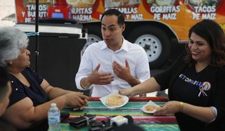 Former Housing and Urban Development Secretary and Democratic presidential candidate Julian Castro speaks with Lupe Arreola, left, Astrid Silva, right, and others while visiting a taco truck, Thursday, Feb. 28, 2019, in North Las Vegas, Nev. (AP Photo/John Locher)