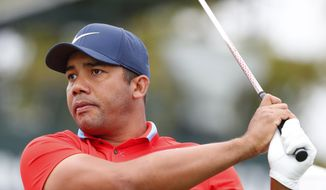 Jhonattan Vegas, of Venezuela, tees off on the 12th hole during the first round of the Honda Classic golf tournament, Thursday, Feb. 28, 2019, in Palm Beach Gardens, Fla. (AP Photo/Wilfredo Lee)