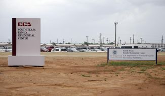 FILE - In this June 30, 2015, file photo, signs are seen at the entrance to the South Texas Family Residential Center in Dilley, Texas. The mother of a migrant toddler who died shortly after being released from the nation's largest family detention center on Thursday, Feb. 28, 2019, sued the tiny Arizona city that for years was paid by the U.S. government to run the facility in name only. Yazmin Juarez's lawsuit alleges that her 1-year-old daughter, Mariee, developed a respiratory illness at the South Texas Family Residential Center in Dilley, Texas, and medical staff did not adequately treat her before releasing them three weeks later. (AP Photo/Eric Gay, File)