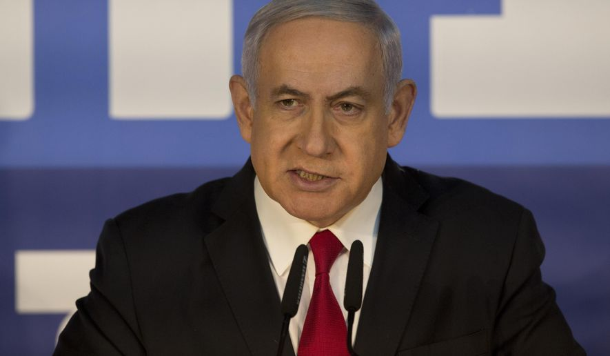 Israeli Prime Minister Benjamin Netanyahu delivers a statement at the Prime Minister's residence in Jerusalem, Thursday, Feb. 28, 2019. Israel's attorney general on Thursday recommended indicting Prime Minister Benjamin Netanyahu with bribery and breach of trust in a series of corruption cases, a momentous move that shook up Israel's election campaign and could spell the end of the prime minister's illustrious political career. (AP Photo/Sebastian Scheiner)