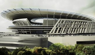 FILE - This March 26, 2014 artist rendering provided by Italian Serie A soccer club Roma, shows the new stadium to be build on the outskirts of Rome. After a rough stretch, things are finally starting to look up again for Roma's American president, James Pallotta. Pallotta's joy over Roma reaching the Champions League semifinals last season quickly turned to despair when nine people were arrested in June for alleged corruption linked to bureaucratic matters involving the club's long-delayed plans to build a new stadium. (AS Roma Via AP)