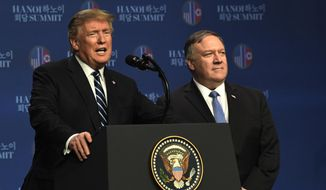 Secretary of State Mike Pompeo strongly felt the need for patience and deeper, working-level talks with the North Koreans, but he didn't skip a beat in backing up President Trump over his decision to walk away from the table with Kim Jong-un when denuclearization talks in Vietnam hit a snag. (Associated Press/File)