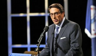 In this Oct. 23, 2015, file photo, Jay Sekulow, chief counsel of the American Center for Law and Justice, introduces Republican presidential candidate former Florida Gov. Jeb Bush during a presidential candidate forum with the Rev. Pat Robertson at Regent University in Virginia Beach, Va. (AP Photo/Steve Helber, File)