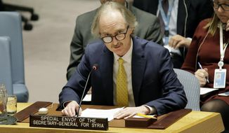 Geir Pedersen, The United Nations Special Envoy for Syria, speaks during a Security Council meeting at U.N. headquarters, Thursday, Feb. 28, 2019. (AP Photo/Seth Wenig)