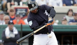 Detroit Tigers' Miguel Cabrera hits a double in the first inning during a spring training baseball game against the New York Yankees, Wednesday, Feb. 27, 2019, in Lakeland, Fla. (AP Photo/Lynne Sladky)