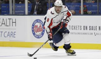 Washington Capitals' Alex Ovechkin during the first period of an NHL hockey game against the New York Islanders Friday, March 1, 2019, in Uniondale, N.Y. (AP Photo/Frank Franklin II)