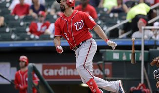 Washington Nationals' Anthony Rendon flies out during the third inning of an exhibition spring training baseball game against the Miami Marlins Friday, March 1, 2019, in Jupiter, Fla. (AP Photo/Jeff Roberson)