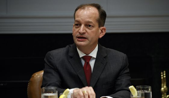 In this June 21, 2018, file photo, Secretary of Labor Alex Acosta speaks during a meeting with President Donald Trump and governors in the Roosevelt Room of the White House in Washington. Congressional Democrats are trying to increase pressure on Acosta over his handling of a secret plea deal with a wealthy financier accused of sexually abusing dozens of underage girls. A group of House Democrats is asking the Justice Department to reopen the deal with Jeffrey Epstein. (AP Photo/Evan Vucci, file)
