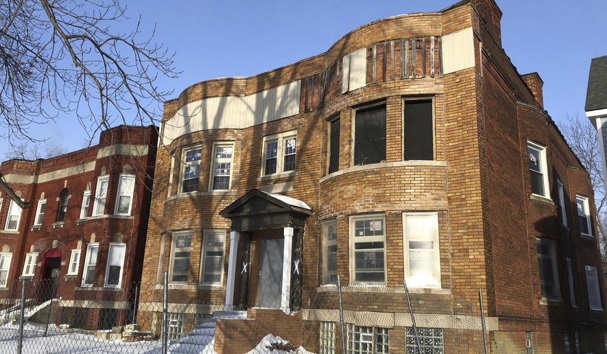 In a Jan. 30, 2019 file photo, an apartment building formerly owned by Michigan Lt. Gov. Garlin Gilchrist II is shown. Michigan's lieutenant governor has sold the fire-damaged Detroit apartment building at a loss after spending about $226,000 to try to revive it. (AP Photo/Ed J. White)