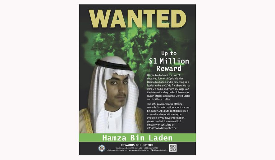 This wanted poster released by the U.S. Department of State Rewards for Justice program shows Hamza bin Laden. Saudi Arabia announced Friday, March 1, 2019 it had revoked the citizenship of bin Laden, the son of the late al-Qaida leader who has become an increasingly prominent figure in the terror network. (Rewards for Justice via AP)
