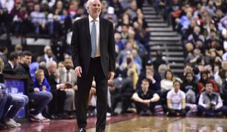 San Antonio Spurs coach Gregg Popovich watches the team play the Toronto Raptors during the second half of an NBA basketball game Friday, Feb. 22, 2019, in Toronto. (Frank Gunn/The Canadian Press via AP)