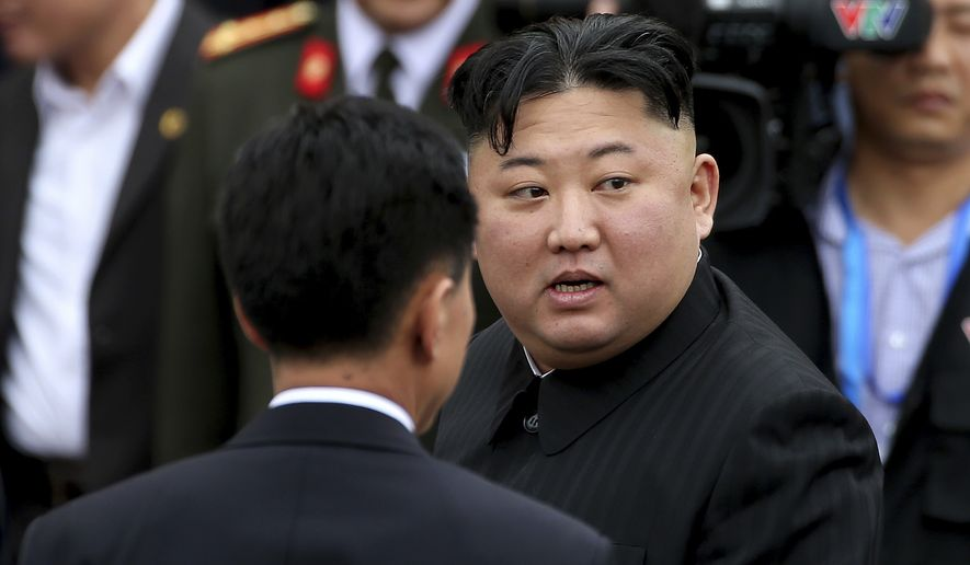 North Korean leader Kim Jong Un prepares to depart Dong Dang railway station in Dong Dang, Vietnamese border town Saturday, March 2, 2019. (AP Photo/Minh Hoang)