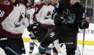 San Jose Sharks' Marcus Sorensen, right, celebrates beside Colorado Avalanche's Derick Brassard, (18) after scoring a goal during the first period of an NHL hockey game Friday, March 1, 2019, in San Jose, Calif. (AP Photo/Ben Margot)
