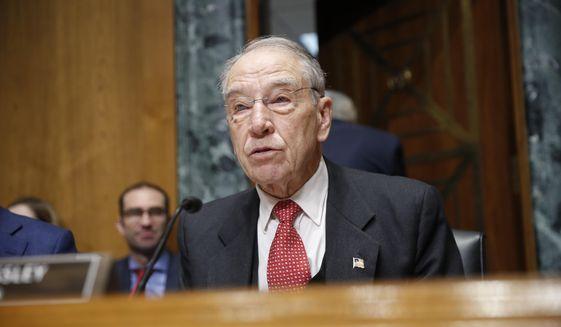 In this Feb. 26, 2019, file photo, Sen. Chuck Grassley, R-Iowa, speaks on Capitol Hill in Washington. (AP Photo/Pablo Martinez Monsivais) ** FILE **