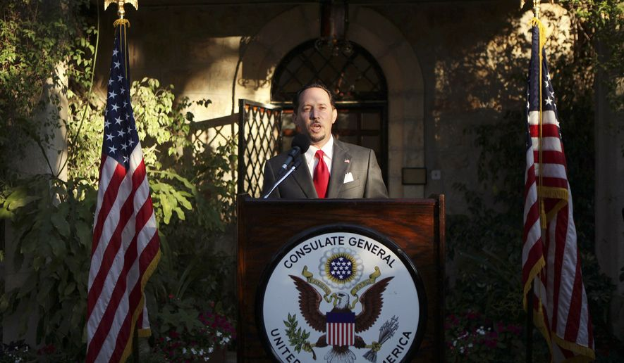 In this June 30, 201, file photo, then U.S. Consul General of Jerusalem Daniel Rubinstein gives a speech during a reception for the upcoming July 4 U.S. Independence Day celebrations at the American Consulate in Jerusalem. The United States has officially shuttered its consulate in Jerusalem, downgrading the status of its main diplomatic mission to the Palestinians by folding it into the U.S. Embassy to Israel. The announcement from the State Department came early Monday, March 4, 2019, in Jerusalem, the merger effective that day. (Gali Tibbon/Pool Photo via AP, FIle)