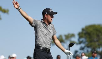 Justin Thomas calls out after his tee shot went right on the ninth hole during the third round of the Honda Classic golf tournament, Saturday, March 2, 2019, in Palm Beach Gardens, Fla. (AP Photo/Wilfredo Lee)