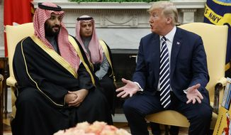 FILE - In this March 20, 2018, file photo, President Donald Trump meets with Saudi Crown Prince Mohammed bin Salman in the Oval Office of the White House in Washington. The family of a dual Saudi-U.S. citizen imprisoned in Saudi Arabia for more than a year are claiming that he has been subjected to routine torture and is on the verge of an emotional breakdown. In seeking to publicize the issue, the family will have to contend with the extremely tight public relationship between Donald Trump and Mohammed bin Salman, popularly referred to as MBS. (AP Photo/Evan Vucci, File)