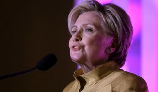 Former Secretary of State Hillary Clinton speaks during a fundraising event for Big Sister Association of Greater Boston, Tuesday, Dec. 5, 2017, in Boston. Clinton was presented with the organization's Believe in Girls award during the event. (AP Photo/Steven Senne) ** FILE **