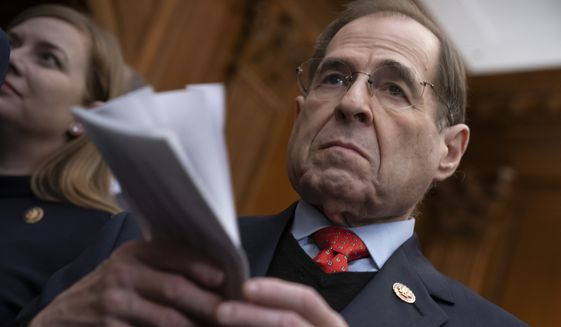 House Judiciary Committee Chairman Jerrold Nadler, New York Democrat, signaled the pair's influence in his investigation by personally announcing their arrival to the committee as consultants. If there are to be impeachment charges, they would originate with his committee. (Associated Press)