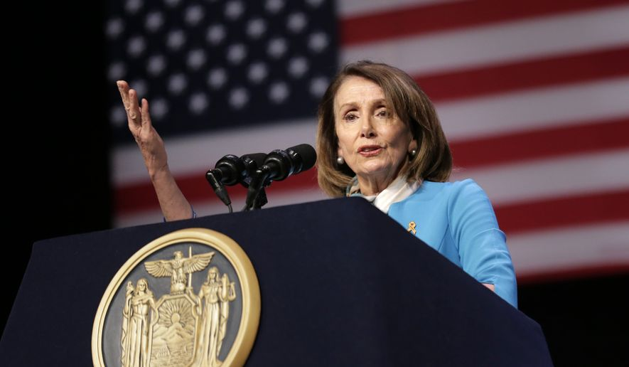 "House Speaker Nancy Pelosi speaks during a bill signing ceremony in New York, Monday, Feb. 25, 2019. Pelosi joined New York Governor Andrew Cuomo as he signed a ""red flag"" bill, which attempts to prevent people who present a threat to themselves or others from purchasing or owning a gun. (AP Photo/Seth Wenig)"