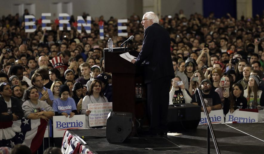 Sen. Bernie Sanders, I-Vt., speaks as he kicks off his 2020 presidential campaign at Navy Pier in Chicago, Sunday, March 3, 2019. Over the next several weeks, Sanders will travel to Iowa, New Hampshire, South Carolina, Nevada, and California. He will then return to Burlington, Vermont, for the official launch of his campaign. (AP Photo/Nam Y. Huh)