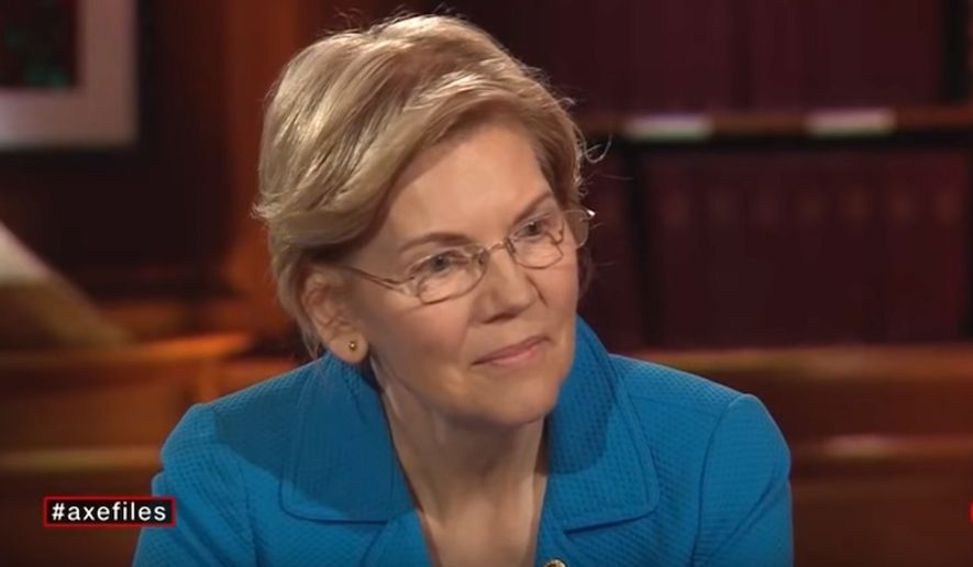 "Sen. Elizabeth Warren talks about past claims of Native American ancestry during an interview with David Axelrod of CNN's ""The Axe Files,"" March 2, 2019. (Image: CNN screenshot)"