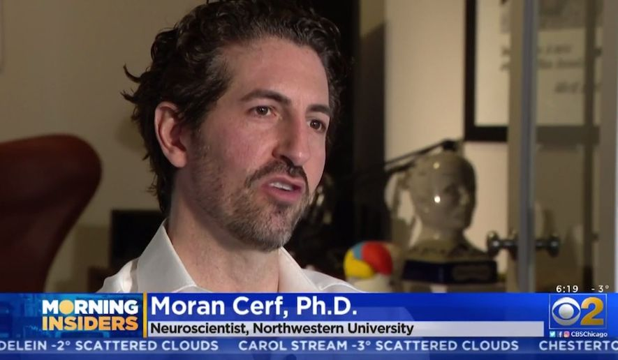 "Neuroscientist Moran Cerf, Ph.D., discusses ""smart chip"" brain implants with a CBS affiliate in Chicago, March 4, 2019. (Image: CBS News Chicago video screenshot)"