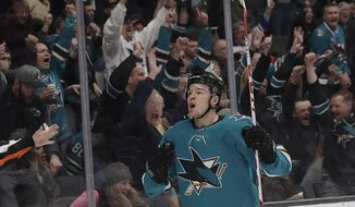 San Jose Sharks center Tomas Hertl (48) celebrates after scoring a goal against the Chicago Blackhawks during the first period of an NHL hockey game in San Jose, Calif., Sunday, March 3, 2019. (AP Photo/Jeff Chiu)