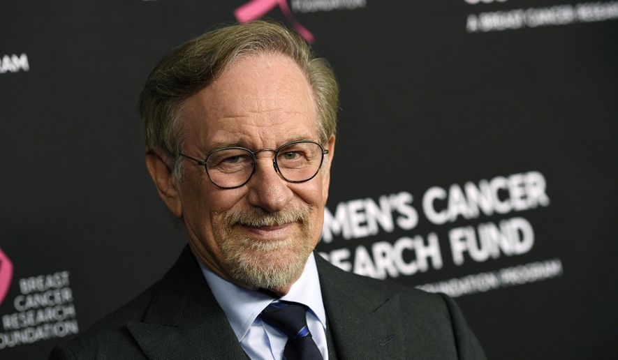 """In this Thursday, Feb. 28, 2019, file photo, filmmaker Steven Spielberg poses at the 2019 """"An Unforgettable Evening"""" benefiting the Women's Cancer Research Fund, at the Beverly Wilshire Hotel, in Beverly Hills, Calif. Reports that Spielberg intends to support rule changes that could block Netflix from Oscars-eligibility have provoked a heated and unwieldy online debate. (Photo by Chris Pizzello/Invision/AP, File)"""